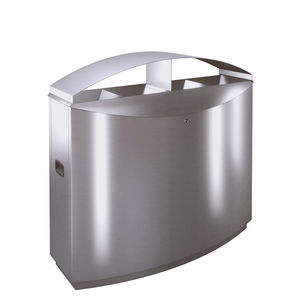 public trash can / stainless steel / brushed stainless steel / for public spaces