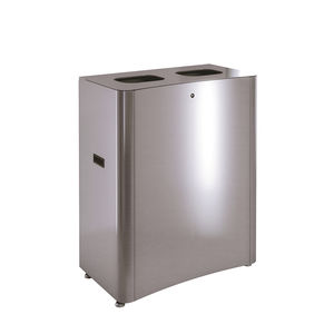 sheet steel trash can / stainless steel / brushed stainless steel / for school
