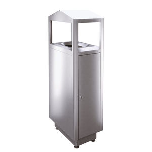 public trash can / stainless steel / for public spaces / for hotel