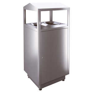 public trash can / free-standing / stainless steel / for public spaces