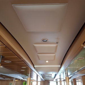 fabric suspended ceiling / polyester / tile / acoustic