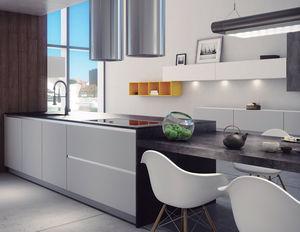 contemporary kitchen / MDF / polymer / island