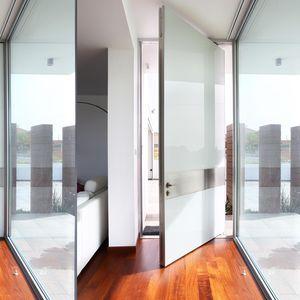 entry door / pivoting / security glass / aluminium