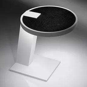 contemporary side table / Corian® / Corian® base / round