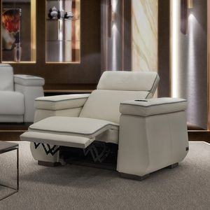 contemporary armchair / leather / with footrest / reclining