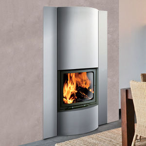 closed wood hearth / 1-sided / stainless steel / glass