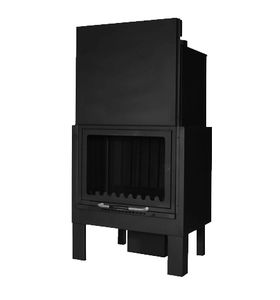 closed wood hearth / 1-sided / steel / glass