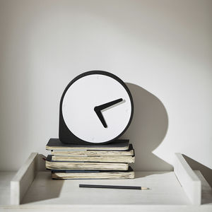 contemporary clocks / analog / desk / stainless steel