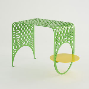 contemporary side table / steel / steel base / rectangular