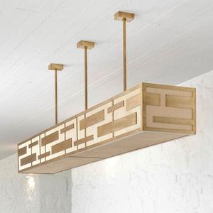 hanging light fixture / LED / rectangular / stainless steel