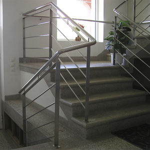 straight staircase / concrete frame / marble steps / with risers