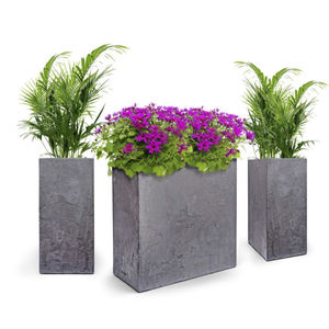 composite flower pot / floor-standing / square / rectangular