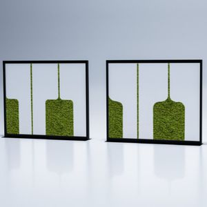 lacquered metal room divider