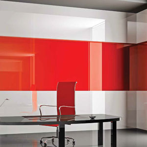lacquered glass panel / safety / float / for partition walls