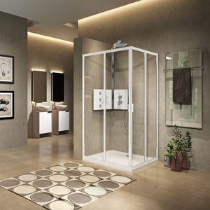 sliding shower screen / corner / glass / home