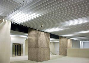 aluminum suspended ceiling / steel / strip / acoustic
