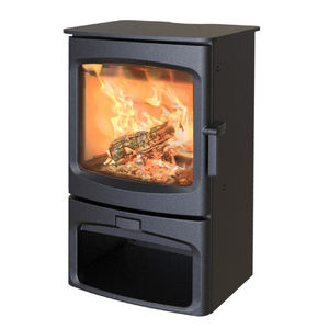 wood heating stove / steel / cast iron / glass