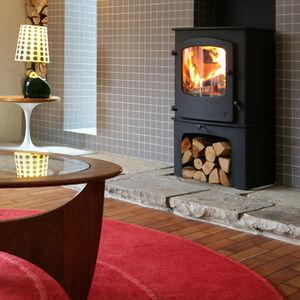 wood heating stove / steel / cast iron / glass