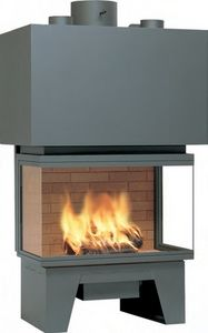 closed wood hearth / 3-sided / metal