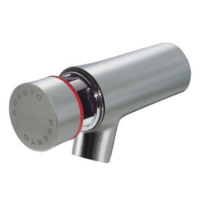 washbasin mixer tap / wall-mounted / stainless steel / self-closing