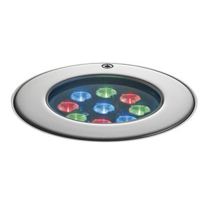 recessed floor light fixture / RGB LED / round / outdoor