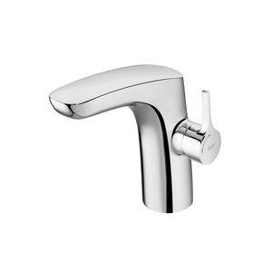 washbasin mixer tap / deck-mounted / chromed metal / bathroom