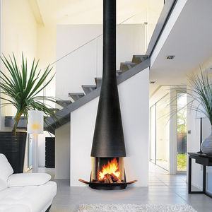 gas fireplace / wood-burning / contemporary / open hearth