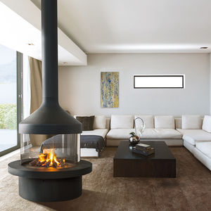 wood-burning fireplace / gas / contemporary / open hearth