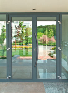 entry door / swing / glass / for public buildings