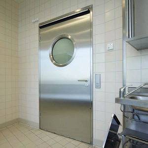interior door / swing / stainless steel / with porthole window
