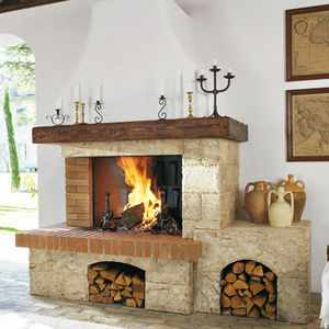 traditional fireplace surround / stone / wooden