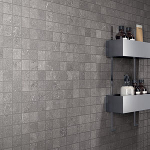 indoor mosaic tile / wall / porcelain stoneware / square
