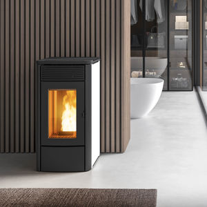pellet heating stove / cast iron / ceramic / contemporary