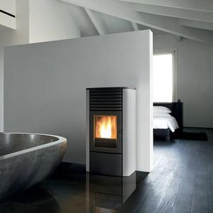pellet boiler stove / steel / cast iron / contemporary