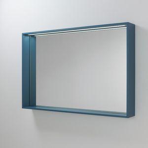 wall-mounted mirror / illuminated / with shelf / contemporary