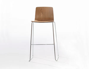 contemporary bar stool / plywood / leather / chrome steel