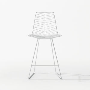 contemporary bar chair / sled base / powder-coated steel / white