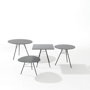 contemporary table / steel / steel base / round