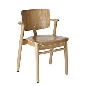 Scandinavian design chair / upholstered / with armrests / stackable