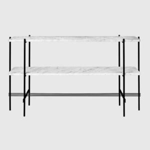 free-standing display rack / stainless steel / marble / commercial