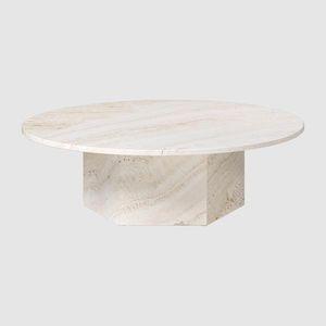 traditional coffee table / travertine / travertine base / round