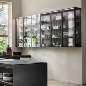 contemporary china cabinet / glass / aluminium