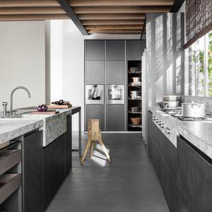 contemporary storage cabinet for kitchen / oak / walnut / elm