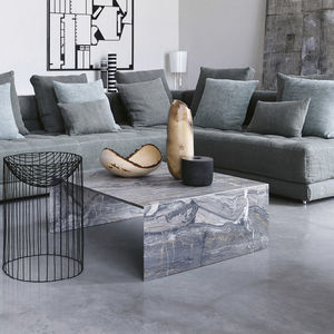 contemporary coffee table / marble / rectangular / gray