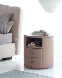 contemporary bedside table / leather / MDF / round