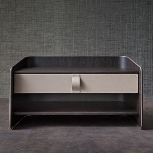 contemporary bedside table / leather / beech / rectangular