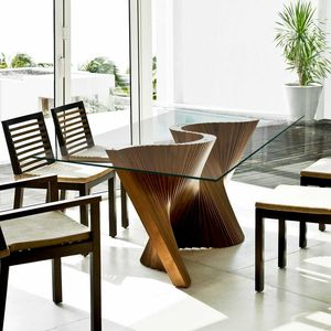 contemporary dining table / walnut / solid wood / ash