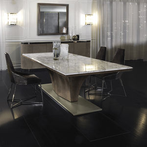 contemporary table / metal / marble / leather