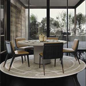 contemporary table / marble / leather / leather base