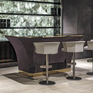 bar counter / glass / wood / steel
